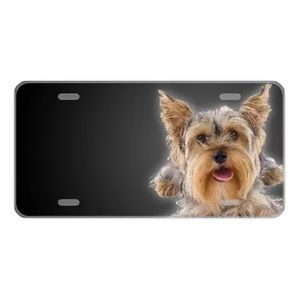 Custom License Plate With Cute Yorkie Add Names